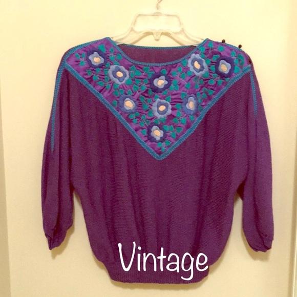 Vintage Sweaters - Gorgeous 1980s Vintage Purple Sweater